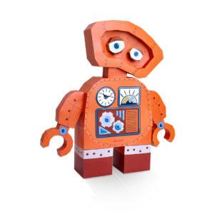 robot orange papier 3D agent paper
