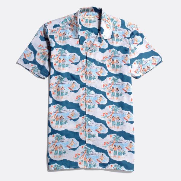 chemise manches courtes hawaïenne short sleeves far afield waikiki blue